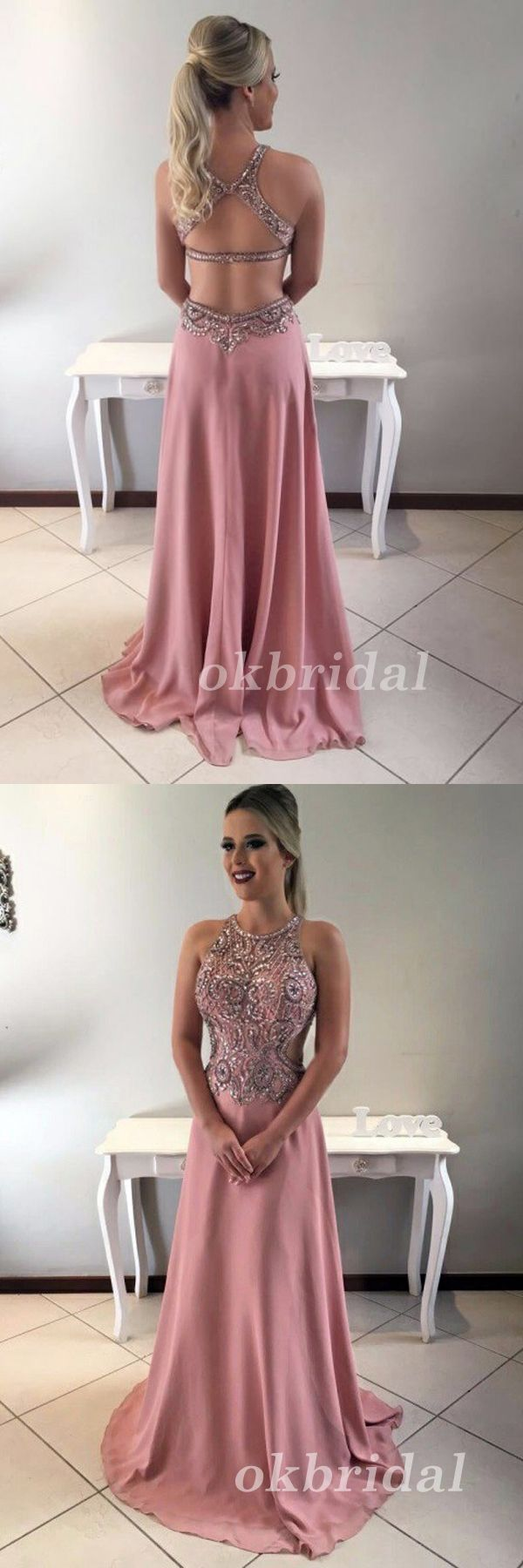 Chiffon Prom Dress, Beading Prom Dress, Sexy Prom Dress, Sleeveless Prom Dress, LB0879 #okbridal #promdress #promnight