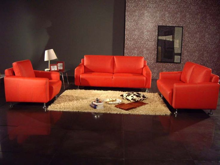 Stylish Contemporary Living Room Orange Sofa Set Picture Listed In