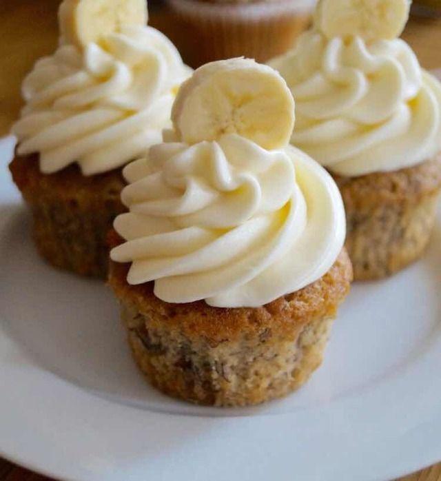 Små, sunde, banancupcakes