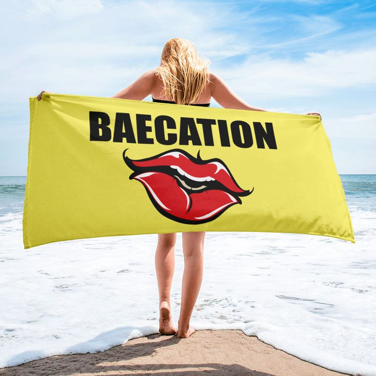 Baecation Towel - Baecation - Couples Gifts - Beach Gifts - Beach Accessories - Bridal Shower Gifts - Large Beach Towel - Large Bath Towel