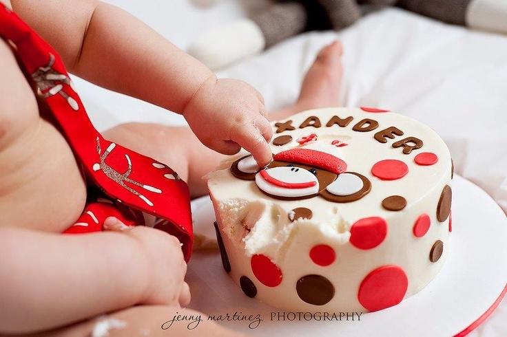 Xander's cake smash cake...and photo shoot.  Sock monkey theme.  First birthday