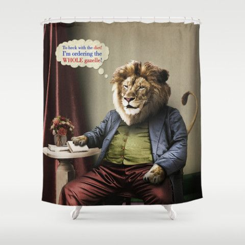 Hungry Lion Shower Curtain by Peter Gross #society6 #showercurtain #bath #home #decor #dorm #lion #diets #cats #animals #food #vintage #surreal #antique #gazelle #petergross