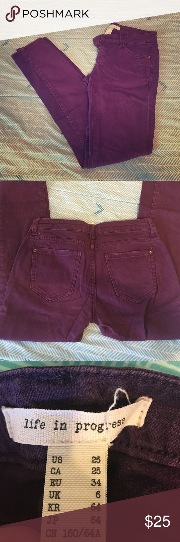 """Forever 21 purple skinny jeans 25"""" Purple colored skinny jeans from Forever 21. 25"""" Forever 21 Jeans Skinny"""