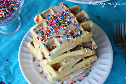 Funfetti Cake Batter Waffles (Needed a recipe that used Funfetti Cake mix and these were good well my kids loved them)