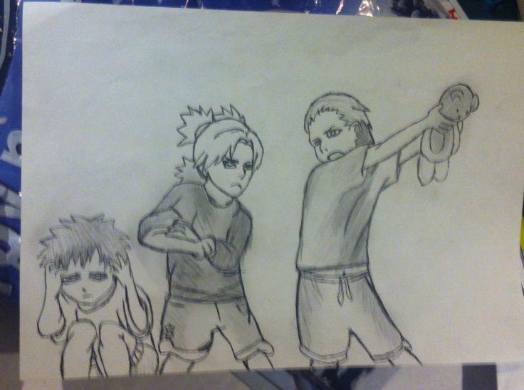 Gaara, Temari and Hidan from Naruto  :3