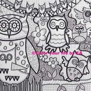 Instagram photo by elisabetadelroth - Hoho! En liten ugglehälsning:) #ugglor #konst #illustration #grafiskt #print #svartvitt #barnrum #väggdekoration #barntavla