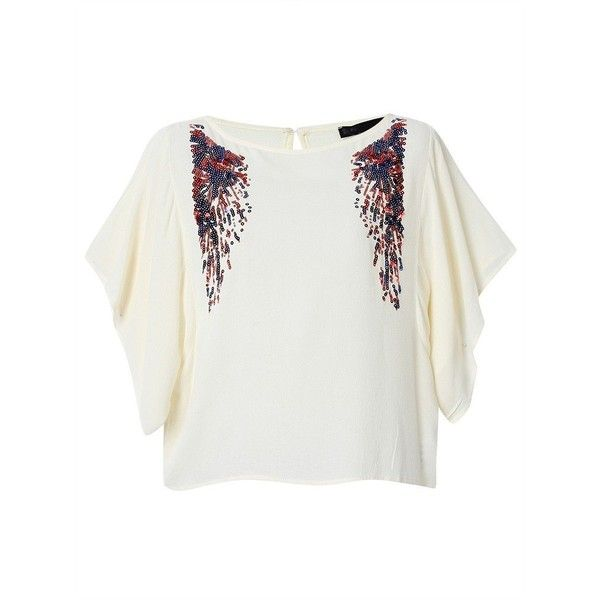 Women Short Batwing Sleeve O Neck Sequins Decoration Casual T-shirt ($15) ❤ liked on Polyvore featuring tops, t-shirts, beige, short sleeve tee, embellished tee, summer tops, short t shirt and sequin top