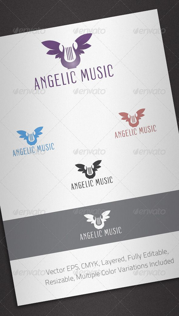 Angelic Music Logo Template  #GraphicRiver         Simple, clean and modern logo template perfect for Music and Audio Related Business.  	 Simple to work with and highly customizable, it ca be easily adjusted to fit your needs.  	 Features   Fully layered and fully editable vector EPS template  Easy to change colors and adjustable to any size  CMYK  Multiple color variations included 	 Font details in the Help file     Created: 19June12 GraphicsFilesIncluded: VectorEPS Layered: Yes…