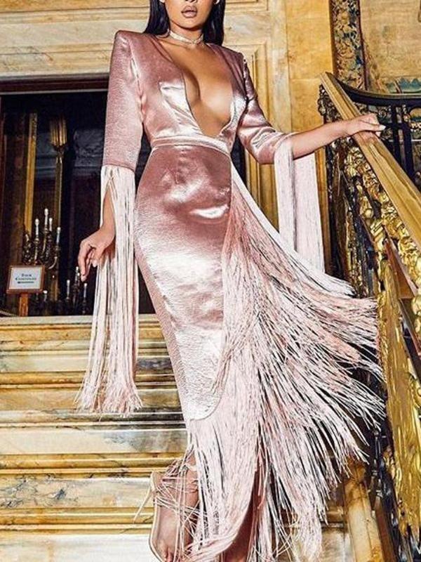 53a4f61f Sexy Deep V-Neck Long Sleeve Tassel Evening Dress No reviews in 2019 ...