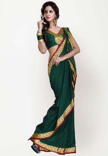 Solid Green Saree Online Shopping - Ishin | IS632WA30LLHINDFAS