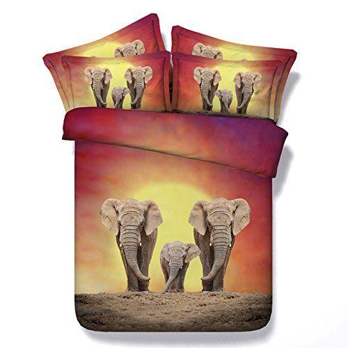 JF-111 Digital Print HD 4 pcs Steppdecke set Twin Full Queen Super King size Elefant Betten für Erwachsene Kinder couvre lit