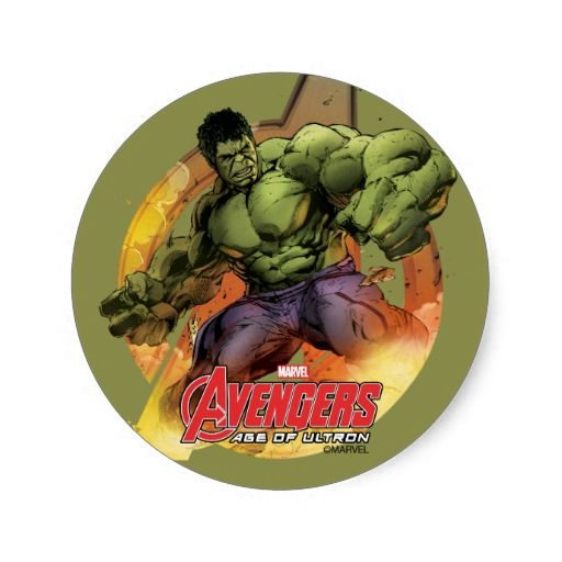 The hulk comic sketch avengers logo round stickers for parties etc