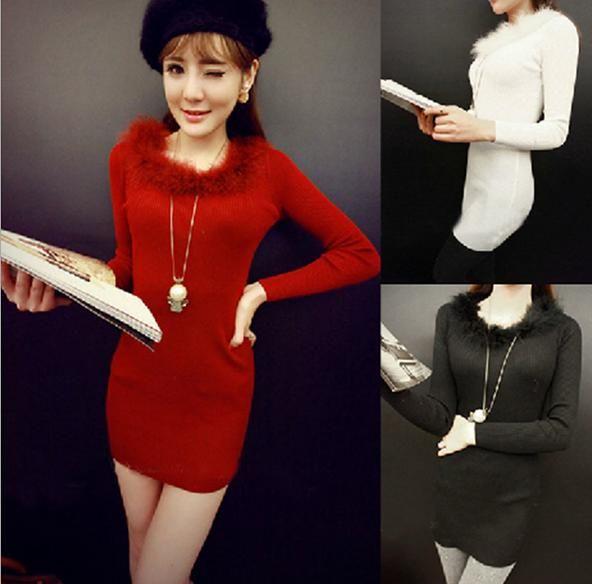 Omh черный красный мода свободного покроя осень зима женская элегантный вязание длинным рукавом страуса волосы воротник чистый цвет мини-платья FZ58
