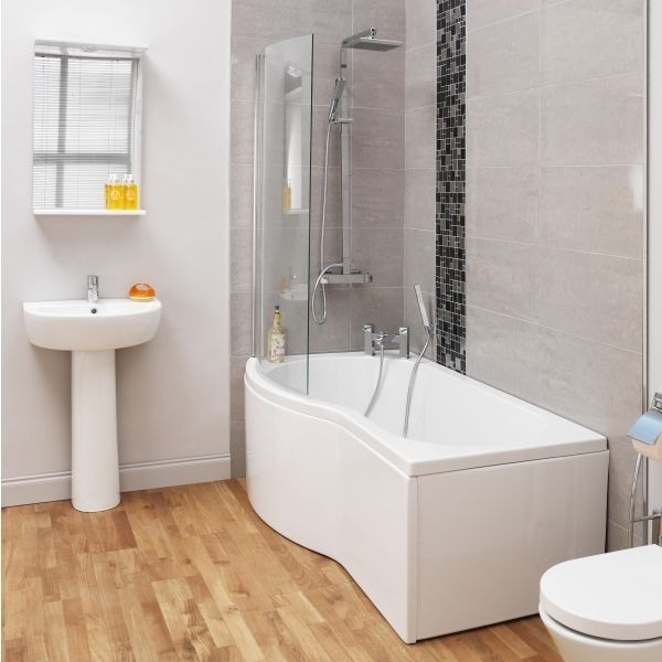 Ceramica P Shaped Shower Bath - 1700mm, Screen & Panel Left Hand