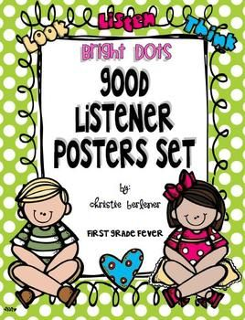 Ready to sit crisscross applesauce? This set of posters helps to remind students of the characteristics of a good listener. Posters are printed on ...