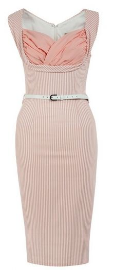 LindyBop retro pouzdrové šaty Vanessa, pastelově růžové