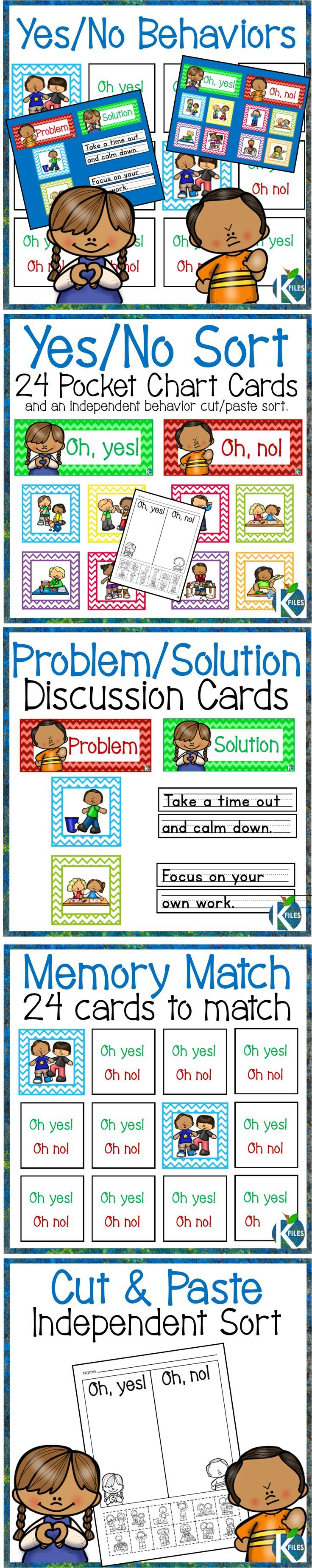 This Back to School resource includes 24 picture cards that can be used in multiple ways: Sort the behaviors by positive/negative in a pocket chart. Print the cards for a matching game to elicit discussion of appropriate behaviors in the classroom among your students. Display the Problem cards and discuss and record possible solutions. Included: 24 yes/no behavior cards 2 headers: Problem and Solution for discussion 2 headers: Oh Yes! and Oh No! for sorting, 1 Independent cut and paste…