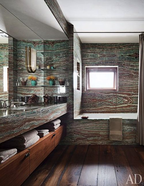 Mountain home dark wood stones and texture - Decorative stone for bathrooms seven design inspiring ideas ...