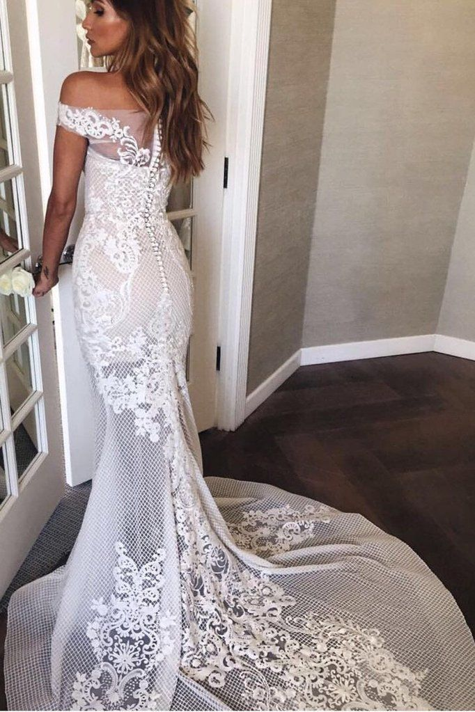 0d0ef08df9a6 Browse Our Large Selection of Wedding Dresses,Sexy Mermaid White Off-the- shoulder Sheer Lace Appliques Court Train Beach Wedding Dress at  Simibridaldresses