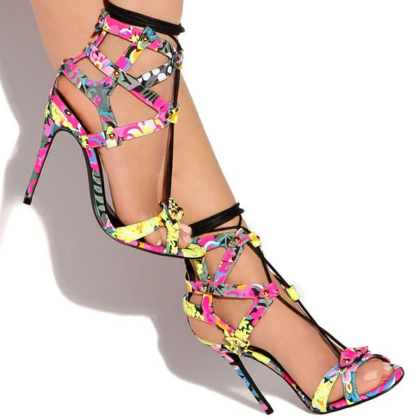 Privileged Multicolor Lace up Sandal Heels