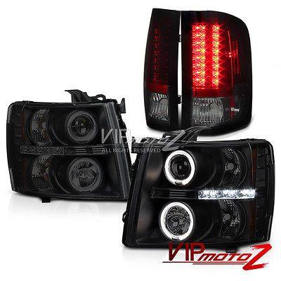 Sinister Black DRL Halo Headlight+Smokey Red LED Tail Light 07-13 Silverado 2500