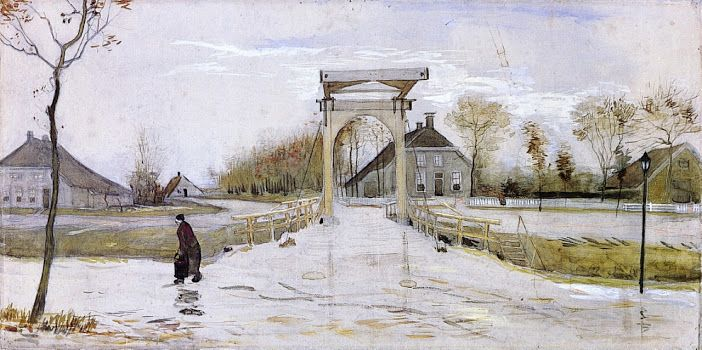 "Drawbridge in Nieuw-Amsterdam"" (November 1883) [F 1098] By Vincent van Gogh, from Zundert, Netherlands (1853 - 1890) - watercolor on paper; 38.5 x 81 cm - Place of creation: Nieuw-Amsterdam, Drenthe, Netherlands"