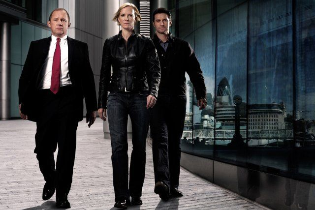 Peter Firth, Hermione Norris and Richard Armitage as Harry Pearce, Ros Myers and Lucas North.  MI-5.
