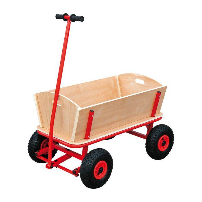 En rejäl skrinda i robust konstruktion av metall och trä med fyra stora luftdäck.  Fakta Maxvikt 80 kg. Storlek 87 x 49 x 57 cm, dragstång cirka. 94 cm. 4 st Lufthjul. Stabil metallkonstruktion. Material: Trä, metall. Vikt 18,8 kg. Färg: Röd.