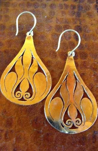 Large Brass Teardrop Cutout Earring