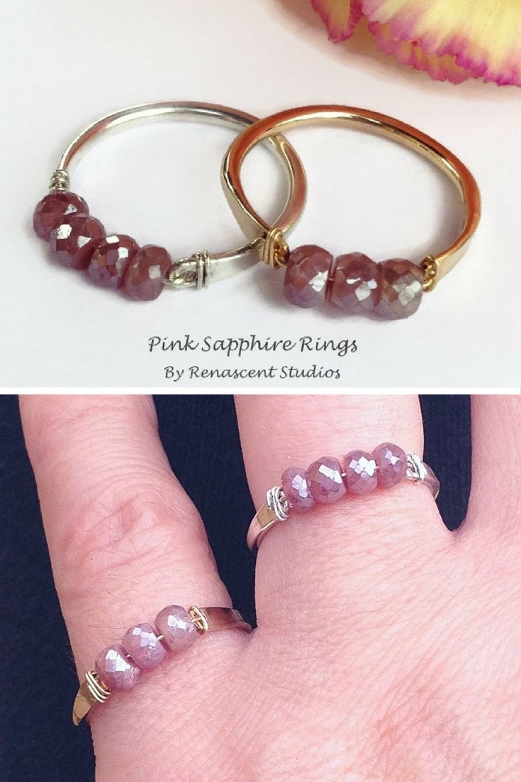 These pink sapphire bar rings are gorgeous! September birthstone rings.