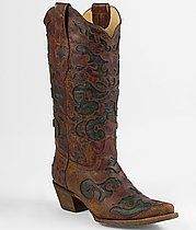 Buckle's two-tone coral cowboy boots. Ooozing cool style.