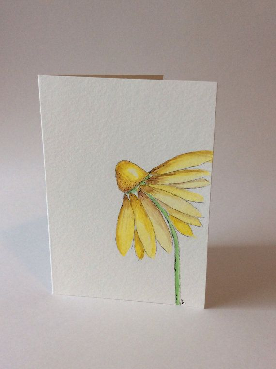 Watercolor greeting card Hand-painted yellow by ThelittleCardCo