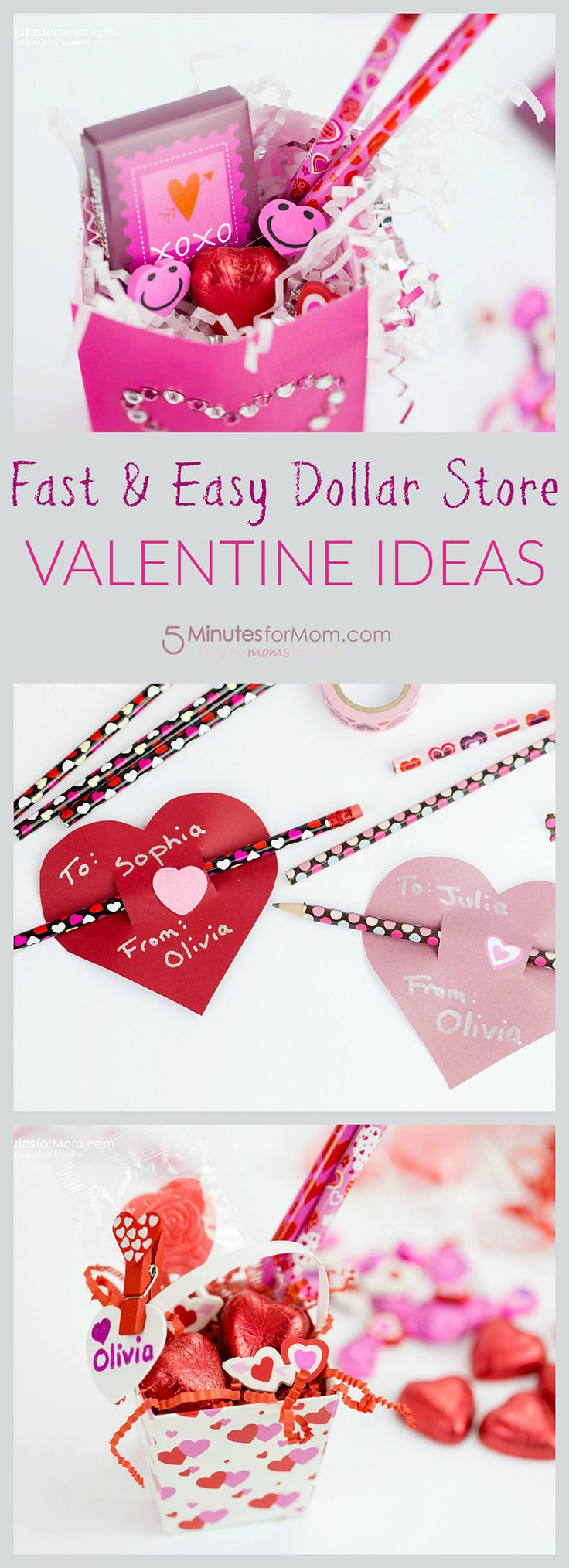 Are you looking for some quick and easy Valentine ideas? Here are three super cute and super fast dollar store Valentine gift ideas you can use for teacher gifts, classroom Valentines, or for giving to your own kids on Valentine's Day…