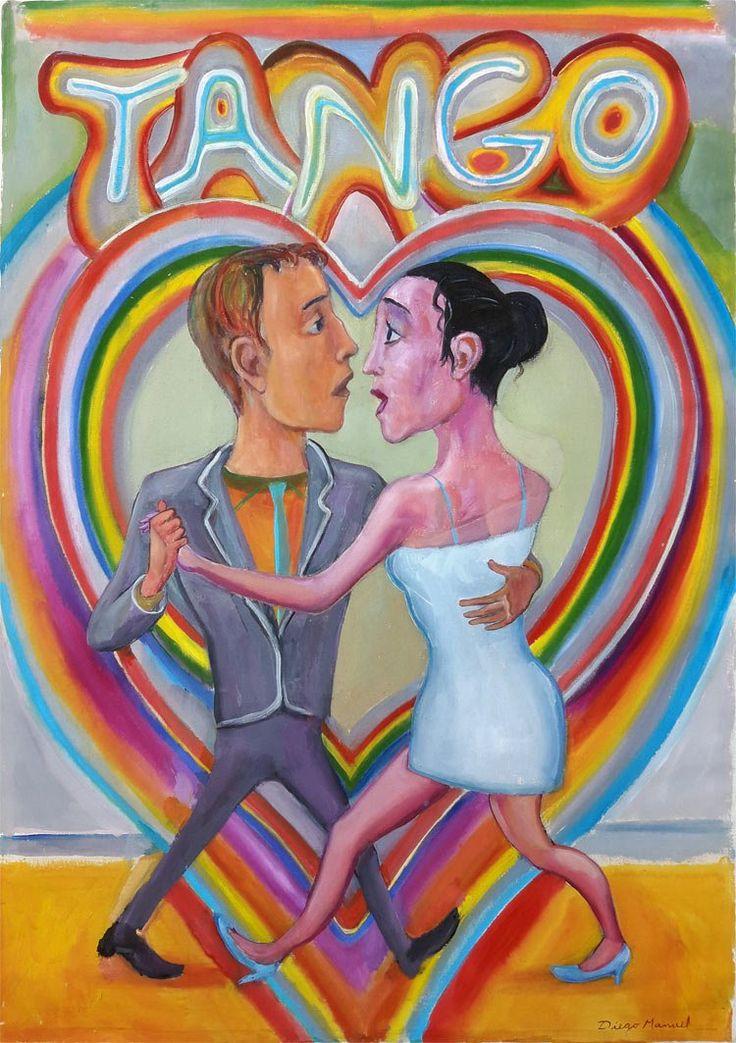 Corazon de tango, acrilico sobre tela, 80 x 100 cm,2012 , Diego Manuel Sale of a painting of the Argentine Tango. Venta de una pintura sobre el tango Argentino.