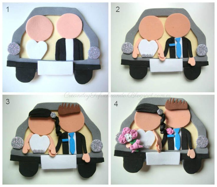 Paso a paso recordatorio de Recién casados para bodas,en goma eva #bodasdiy…