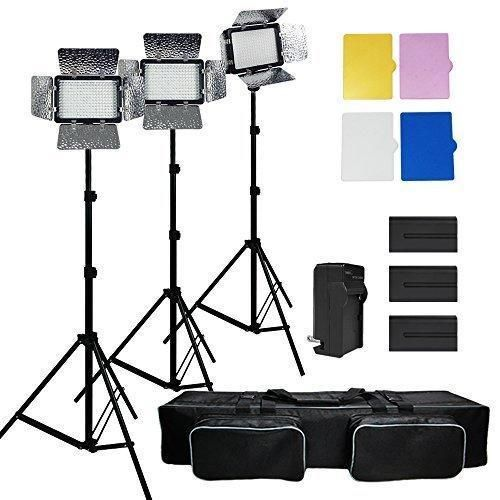 Julius Studio 3x 216 Barndoor Continuous LED Video Lighting kit Dimmable Panel