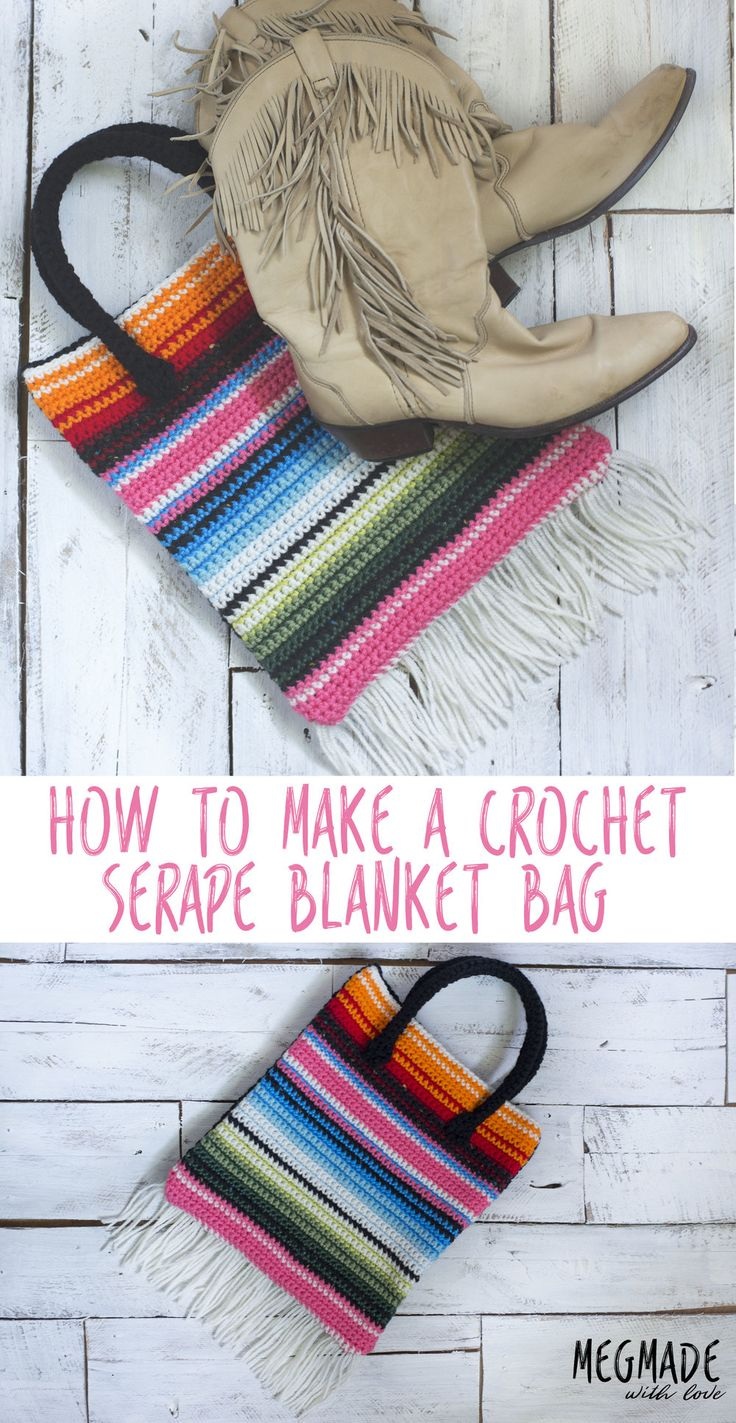 I'm excited to bring to you my latest crochet pattern: the Serape Blanket Bag! This pattern was inspired by this blanket I saw on Pinterest: Ain't that purdy?? So I took out my handy tub o' yarn with all the millions of colors that I shouldn't even have, and went after it! (Which by the way,