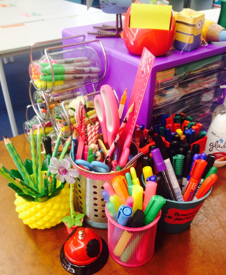 This is my stationery storage system for my desk, looks a bit crazy but there is so much cute stuff!