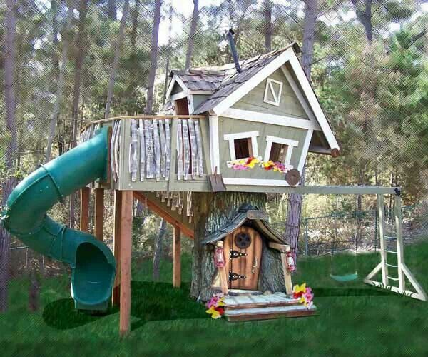 Backyard Treehouse Builders :  backyard so bad more tree houses outdoor playset treehouses monkey