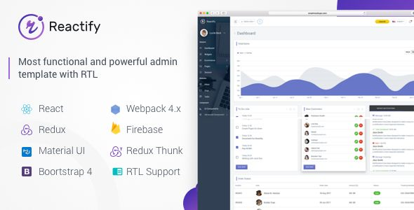 Reactify React Redux Material Bootstrap 4 Laravel Admin Template Templates Template Site Admin