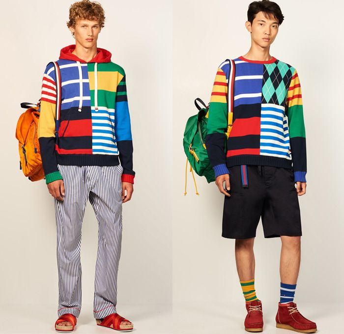 Tommy Hilfiger 2017 Spring Summer Mens Lookbook Presentation - New York Fashion Week Mens NYFWM - Denim Jeans Contrast Stitching Flowers Floral Print Motif Multi-Panel Colorblock Outerwear Regatta Stripes Sneakers Tote Bag Shirt Long Sleeve Outerwear Coat Parka Anorak Hoodie Sandals Khaki Duffel Paisley Backpack Sweater Jumper Shorts Cargo Pockets Knitwear Bomber Jacket Cardigan