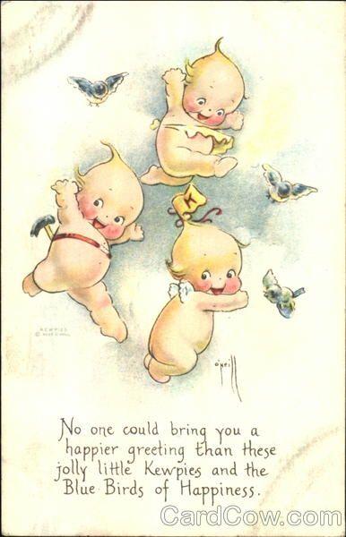 Dancing Kewpies Vintage Postcard