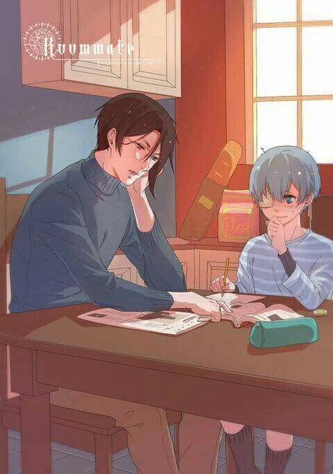 Sebastian helping Ciel with homework if they were humans (or if were living in our time)