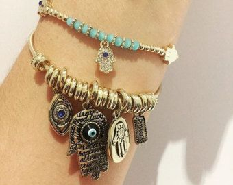 OM Elephant & HAMSA Bracelet Set by GRIZZYLOVE on Etsy