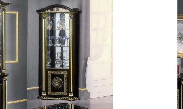 Vitrine d'angle noir laqué et ornements dorés design NADEGE