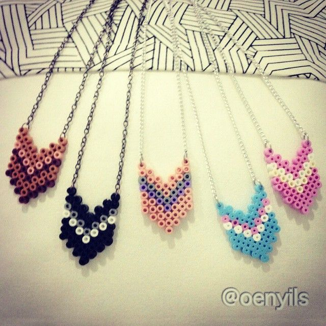 Chevron perler bead necklaces by oenyils