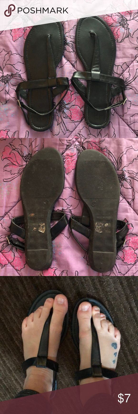 Maurices Black sandals Maurices brand black sandals, size 10. Worn condition but still lots of miles left. Great shoes, a few scuffs shown in pictures. Maurices Shoes Sandals