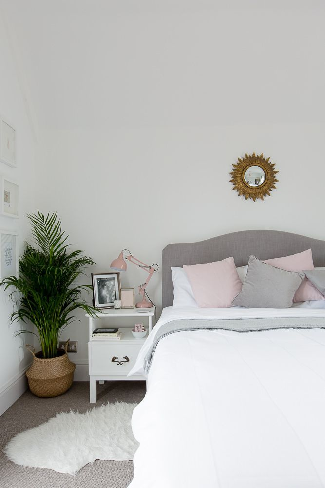 Gray, white & blush bed room. ** Have a look at more by going to the picture