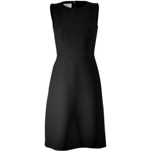 VALENTINO Black A-Line Wool Dress (620.910 CLP) ❤ liked on Polyvore featuring dresses, vestidos, valentino, day dresses, a line shape dress, valentino dress, crew neck dress, a line silhouette dress and no sleeve dress