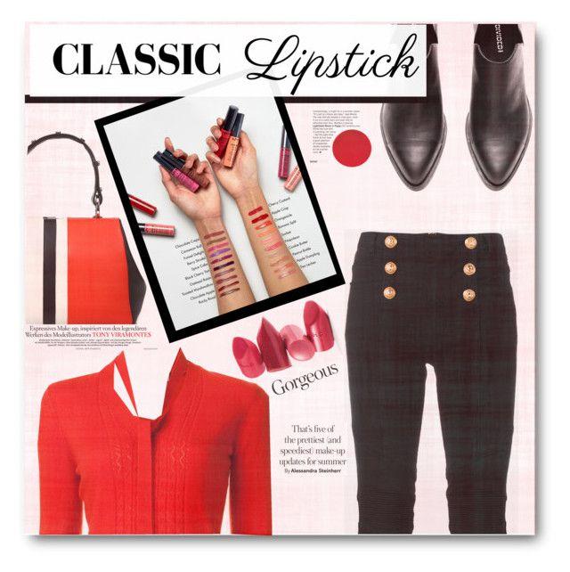 """Red lipstick"" by tanyaf1 ❤ liked on Polyvore featuring beauty, Prada, Carolina Herrera, Balmain, Rossetto and NYX"